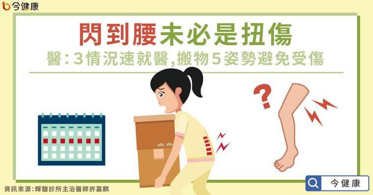 閃到腰未必是扭傷!醫:3情況速就醫,5姿勢搬物避免受傷。