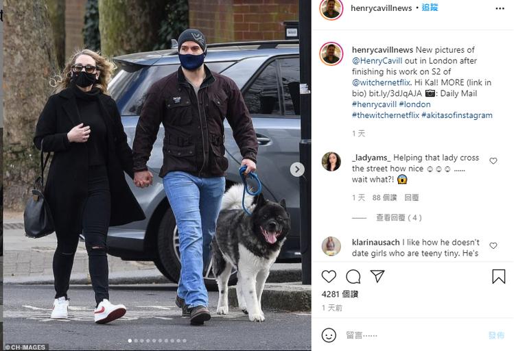 亨利卡維爾與新女友上街遛狗被拍到。圖/摘自Instagram