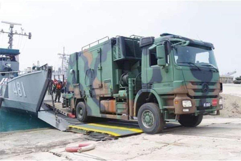 海軍投稿軍媒,國造號稱可偵測匿蹤戰機的「雙基雷達車」進駐澎湖曝光,這則軍聞隨即遭下架。圖/取自Alert5;來源:青年日報