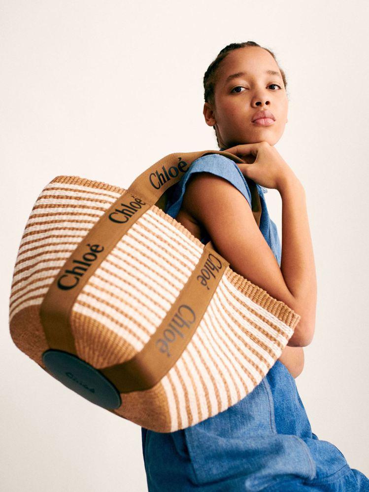 Chloé Woody世界公平貿易組織合作條紋編織提籃,21,300元。圖/Ch...