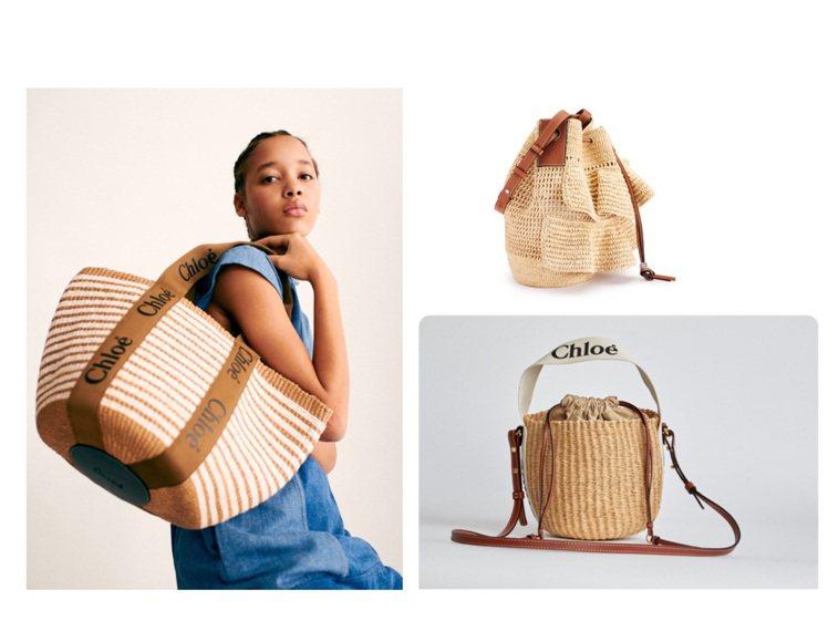 Chloé和LOEWE都推出春夏季編織包款。圖/Chloé、LOEWE提供