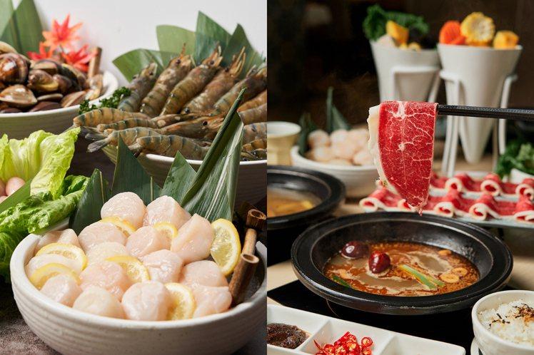 「真生食級干貝鍋」鋪滿15顆干貝,「十三香麻辣鍋」為熱門湯頭口味。圖/本事滿足鍋...