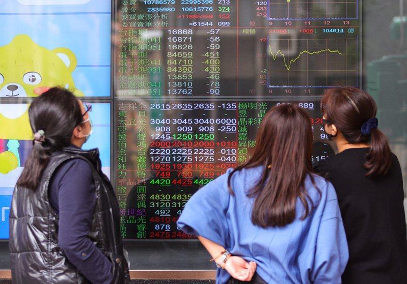 台北股市昨日開高走低,收盤跌72.34點,為16,854.1點,跌幅0.43%,成交金額新台幣4,362.98億元。圖為民眾觀看台股走勢。中央社