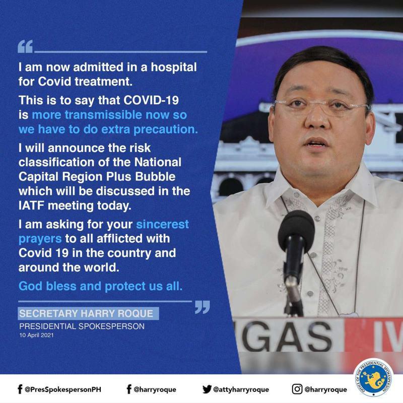菲律賓總統發言人羅奎3月中旬確診2019冠狀病毒疾病(COVID-19,俗稱新冠肺炎)後痊癒,但今天宣布他再度確診,並已入院治療。圖/取自臉書