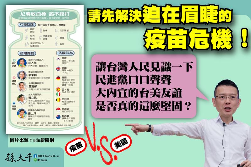 孫大千表示,衛福部只有全面採購全球各品牌疫苗,增加台灣人民新冠肺炎疫苗選擇性,特別是透過駐美代表處向持有疫苗品牌最多的美國提出協助疫苗採購要求,也讓台灣人民見識一下,台美友誼是否如民進黨所稱這麼堅固。圖/取自孫大千臉書