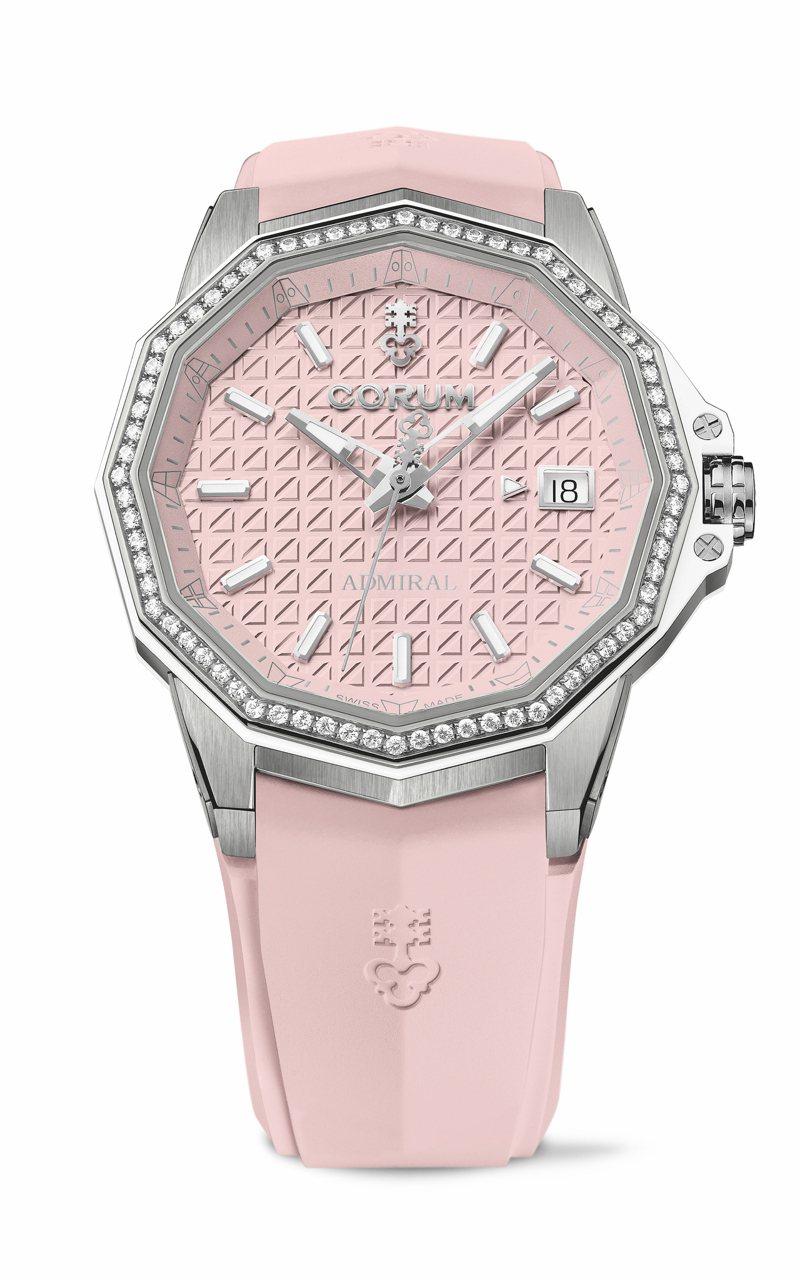 CORUM ADMIRAL海軍上將38自動腕表,使用鈦金屬表殼並鑲嵌鑽石,柔美而堅強,24萬元。圖 / CORUM提供。