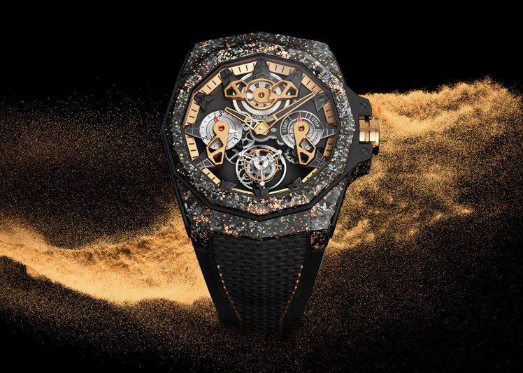 CORUM的限量飛行陀飛輪鏤空腕表,揉和高科技感的碳與貴金屬的玫瑰金,酷炫吸睛,...