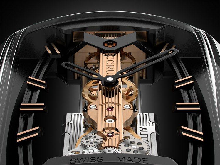 CORUM金橋自動上鍊機芯特殊的設計,讓機芯展現空靈的懸浮姿態。圖 / CORU...