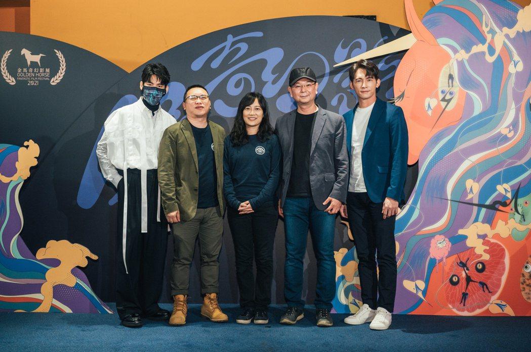 林柏宏(左起)、製作人湯昇榮、導演蔡銀娟、製作人李志薔、溫昇豪參與「火神的眼淚」...