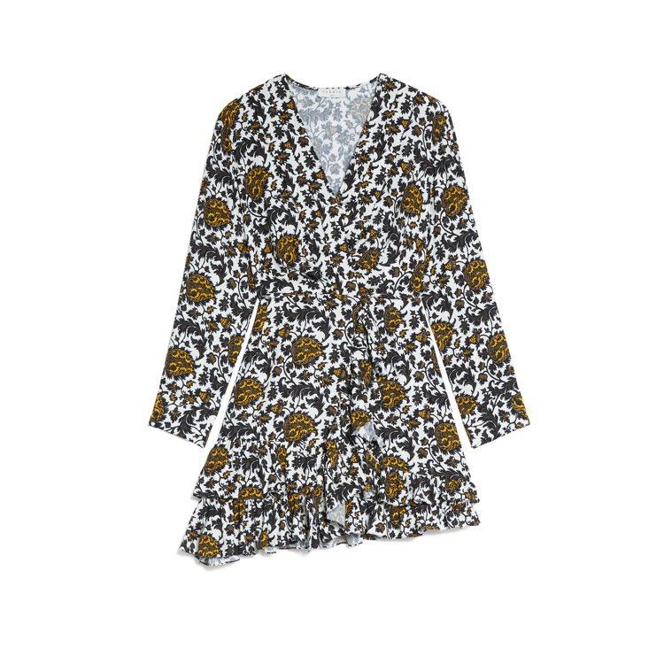 sandro熱帶印花短洋裝,12,290元。圖/sandro提供
