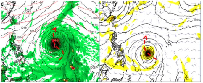 美國模式(GFS)模擬是大型颱風,3、4天後在關島西方海面緩慢向北迴轉(左圖)。歐洲(ECMWF)模式模擬則是普通大小的颱風,其5天後在菲律賓東方、帛琉北方海面逐漸向北迴轉(右圖)。圖擷自Tropical tidbits。圖/取自「三立準氣象.老大洩天機」專欄