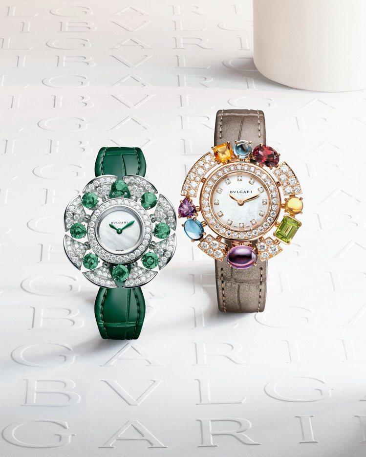 (由左至右)Divissima系列祖母綠與鑽石珠寶腕表,約191萬2,000元;...
