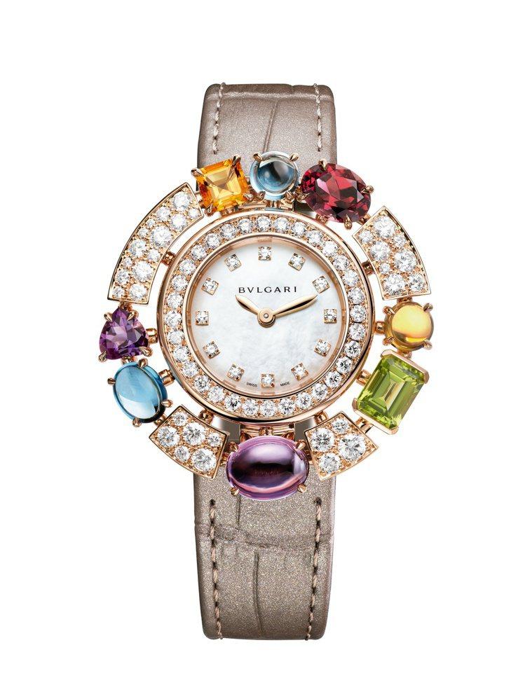 Allegra系列玫瑰金彩寶腕表,約89萬6,000元。圖/寶格麗提供