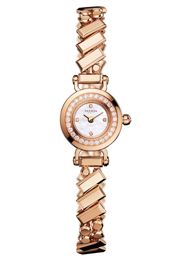 Faubourg Polka玫瑰金表圈鑲鑽腕表,價格未定。圖/愛馬仕提供