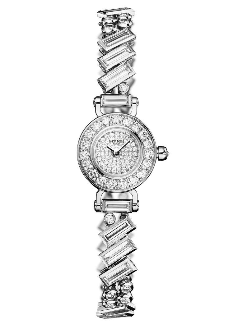 Faubourg Polka白金鑲嵌長梯型鑽石腕表,價格未定。圖/愛馬仕提供