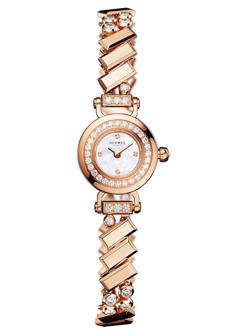 Faubourg Polka玫瑰金鑲鑽腕表,價格未定。圖/愛馬仕提供