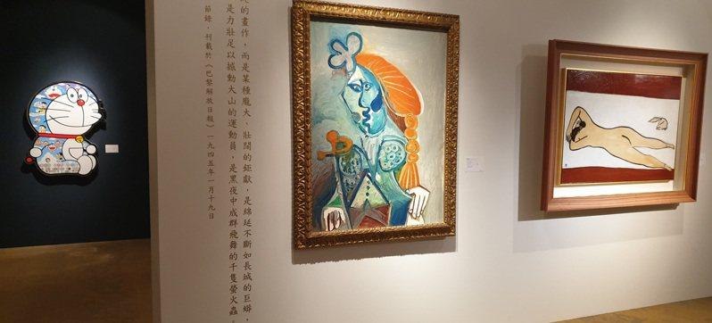常玉畫作「裸女與北京狗」(右)和畢卡索的「鬥牛士」(中)將在蘇富比「超限界:現代藝術晚間拍賣」一起登場。記者陳宛茜/攝影