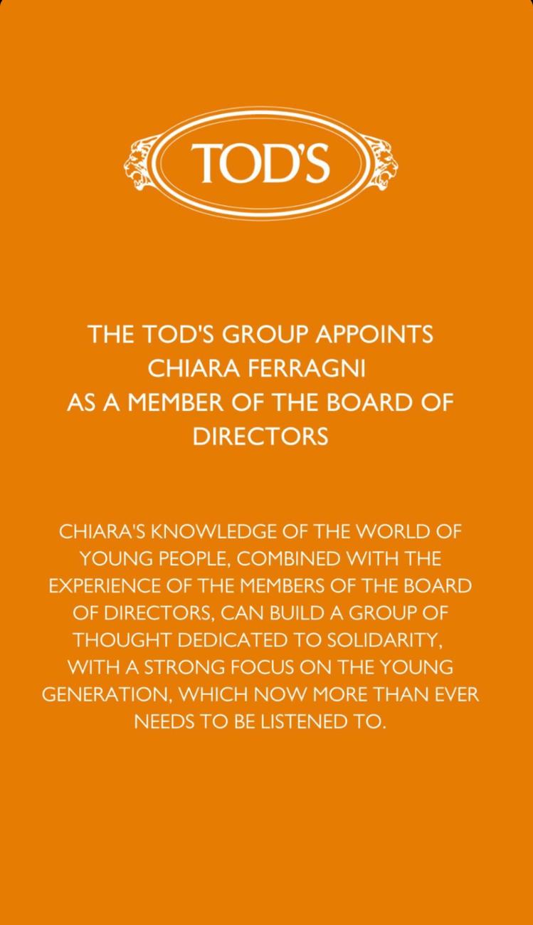 TOD'S官方宣布Chiara Ferragni加入集團董事會。圖/摘自IG