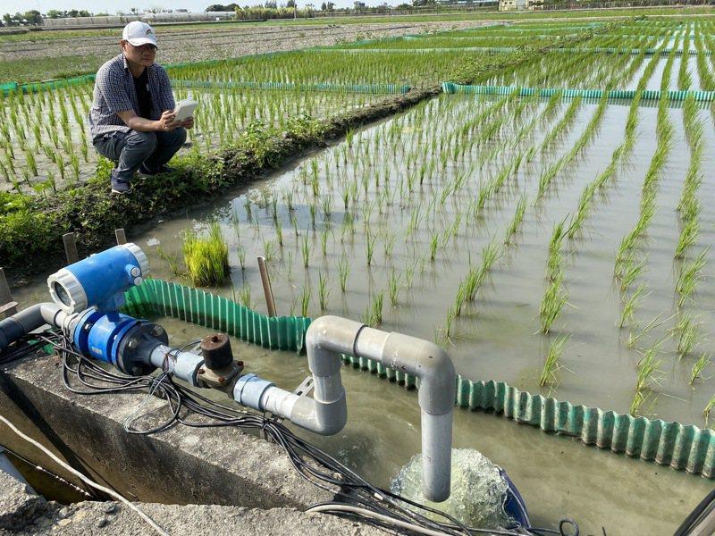 智慧化灌溉系統可節約灌溉用水至少30%,農民用手機App遠端操作,在家就可監測水位省去巡田水時間。記者林宛諭/攝影
