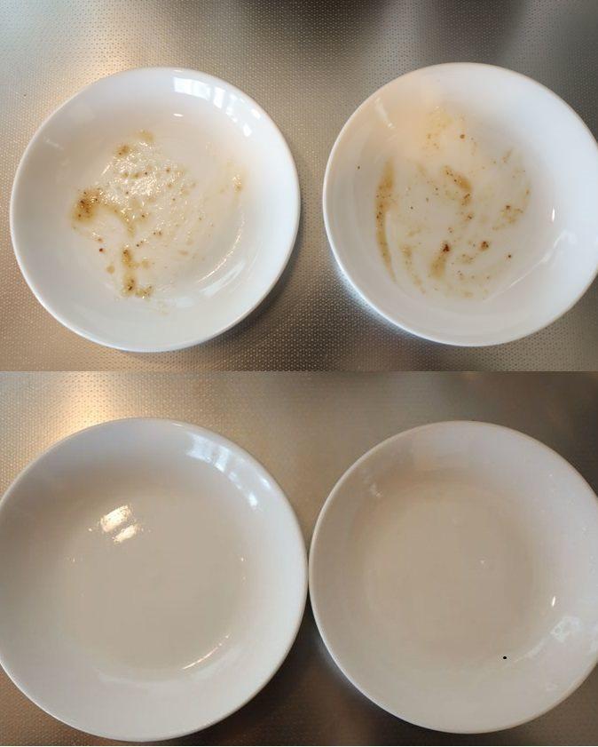 左邊為使用洗米水浸泡清洗過的餐盤,右邊則是僅浸泡過一般清水的餐盤。圖擷取自暮らし...