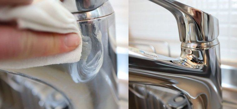 使用洗米水沉澱物清潔過後,水龍頭明顯變得更光亮。圖擷取自暮らしニスタ