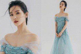 劉詩詩冰晶藍造型如真人版人魚公主,未修原圖美翻網!零細紋發光肌的養成法公開