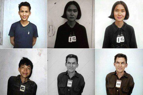 圖為赤柬受害者的照片與改圖。其中右下兩張為被藝術家「誤植」姓名與生平的「博拉」(...