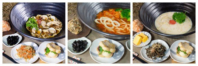 (由左至右)蛤蠣湯烏龍/420元、海鮮泡菜湯烏龍/480元、明太子白湯烏龍/40...
