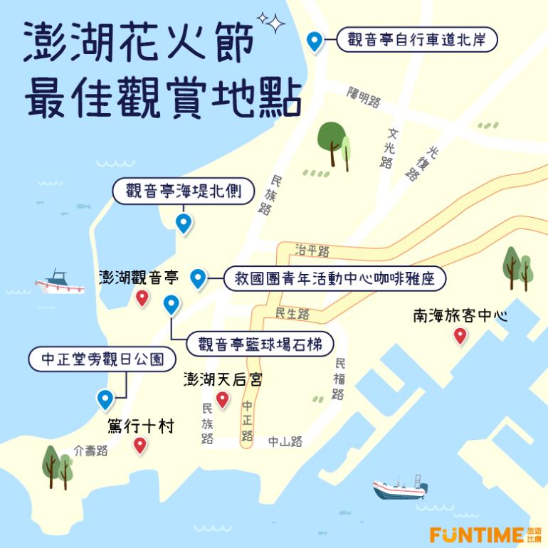 澎湖花火節最佳觀賞位置地圖。 圖/FunTime