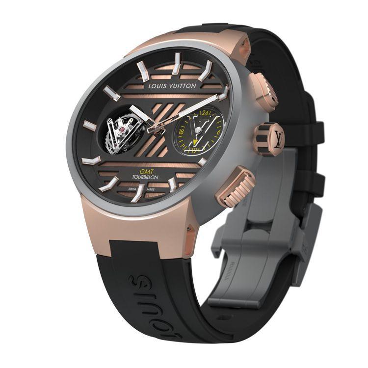Tambour Curve GMT飛行陀飛輪腕表鈦金屬與玫瑰金款,售價未定。圖/...