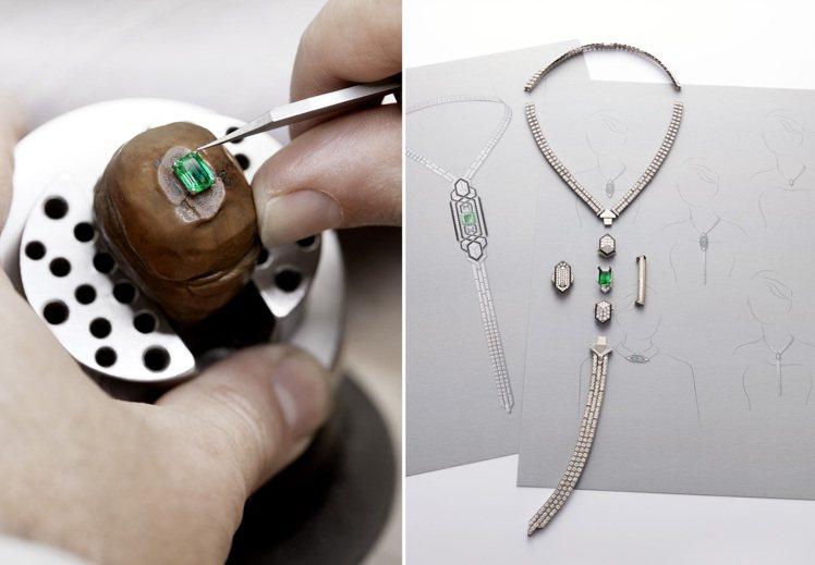 精湛的CRAVATE ÉMERAUDE祖母綠珠寶領帶,是本次Historie d...