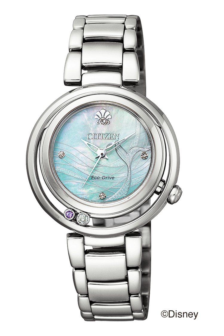 CITIZEN迪士尼系列EM0820-56N腕表,精鋼表殼、表鍊,搭配蝶貝表盤2...