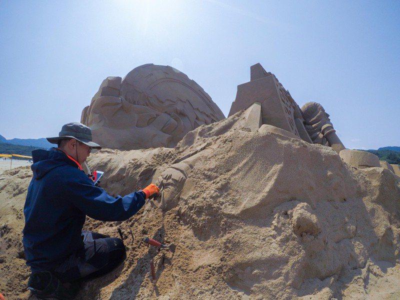 2021福隆國際沙雕藝術季與台灣華特迪士尼公司合作,10位國內沙雕高手一起打造少雕作品。圖/福容大飯店福隆店提供