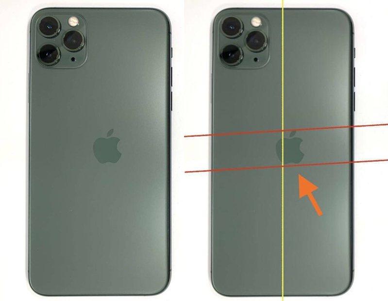 iPhone手機背後的蘋果logo印歪,瑕疵品被售出,讓網友相當驚訝。圖擷自Internal Archive @ArchiveInternal