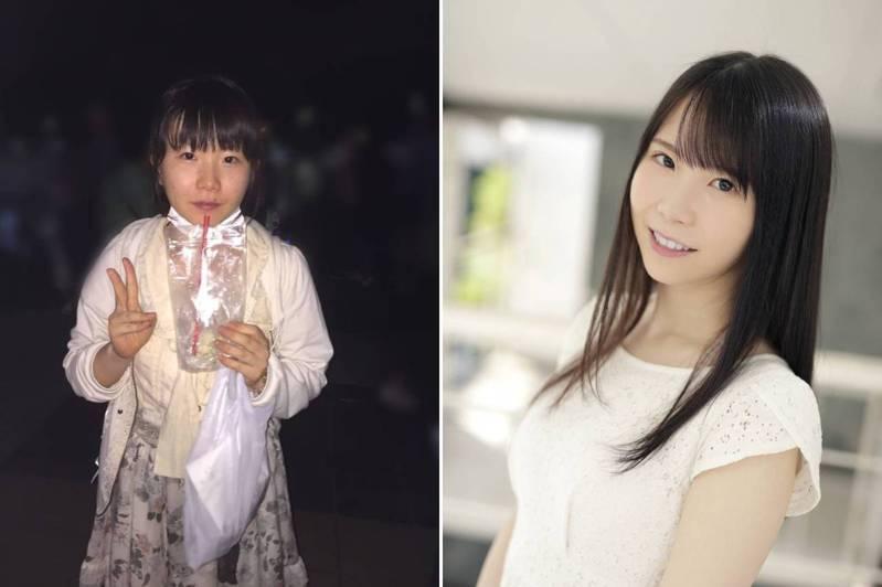 日本有位剛出道AV女優藤田梢,在Twitter自貼舊照(左圖)。 圖/Twitter@kozue__fujita
