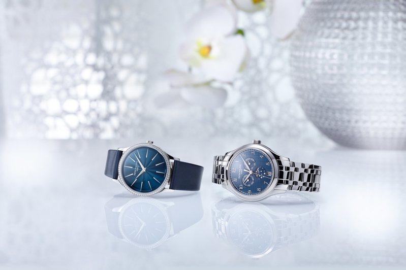 首度搭配圓形表殼與金屬表鍊的編號4947/1A-001年曆腕表,與搭載自動上鍊機芯的35毫米Calatrava編號4997/200G-001女表。圖/百達翡麗提供