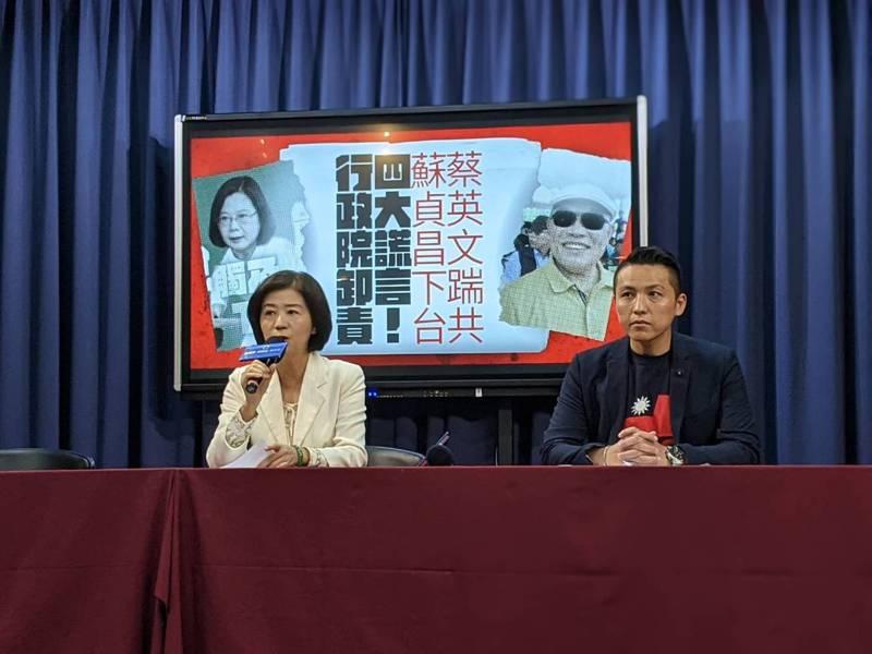 國民黨上午舉行「行政院卸責四大謊言  蘇貞昌下台、蔡英文踹共」記者會。記者劉宛琳/攝影
