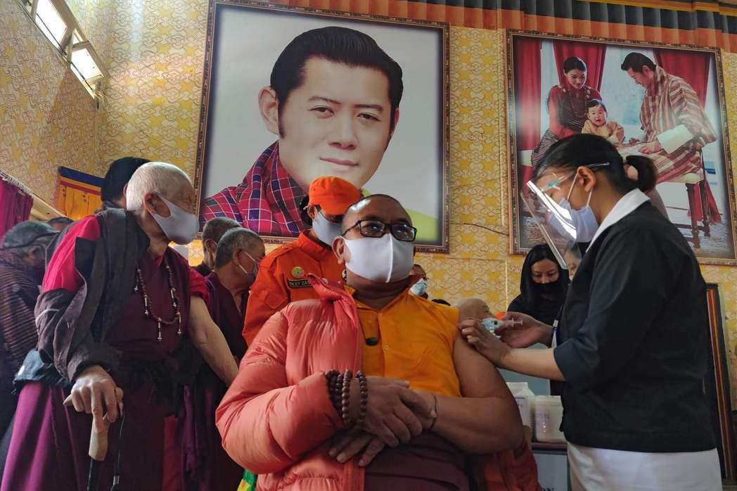 不丹在短短16天內,就已替全國近93%成年人施打新冠疫苗。法新社