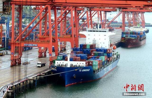 大陸第一季貨物貿易進出口總值人民幣8.47兆(約新台幣37.26兆),年増29.2%。(圖/取自中新網)