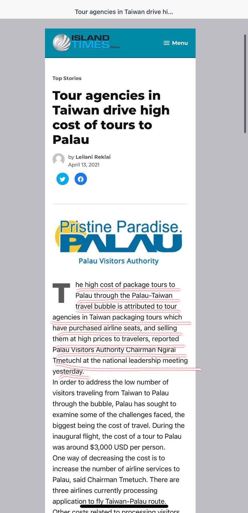 帛琉當地報紙今天討論台帛旅遊泡泡議題。圖/截自帛琉島嶼時報(Island Tim...