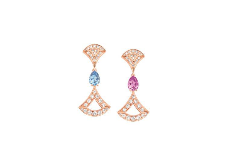 BVLGARI Divas' Dream系列玫瑰金鑽石與彩寶耳環,約34萬3,9...