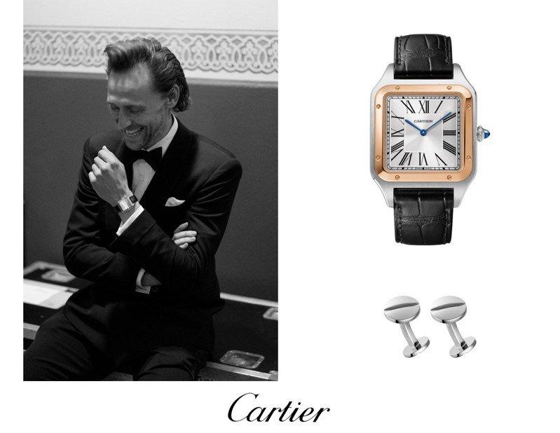 湯姆希德斯頓配戴卡地亞腕表與袖扣出席第74屆英國電影學院獎頒獎典禮。圖/卡地亞提供