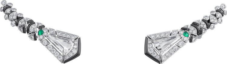 卡地亞[Sur]naturel系列頂級珠寶耳環,白金鑲嵌鑽石、祖母綠、縞瑪瑙,價...