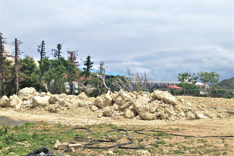 聯上集團接手國賓與縣府的墾丁公教會館BOT案,今年清明節前動工時,包商在基地陸續挖出大量珊瑚礁石,隨即通報墾管處。記者潘欣中/攝影
