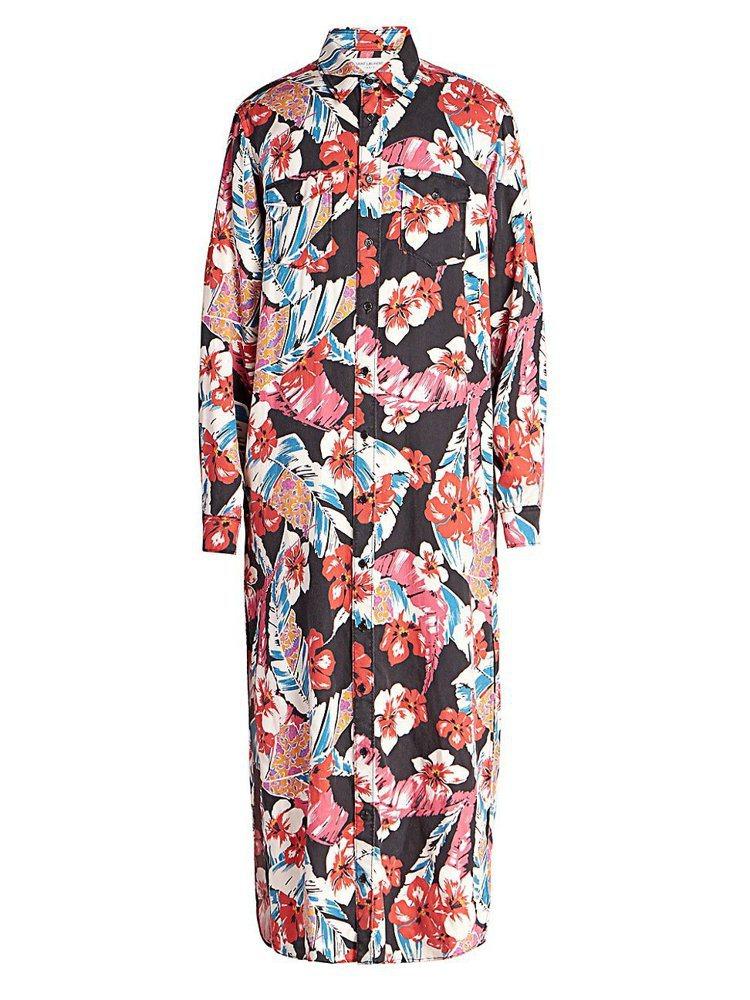 熱帶花朵圖騰夏威夷長袍,51,300元。圖/Saint Laurent提供