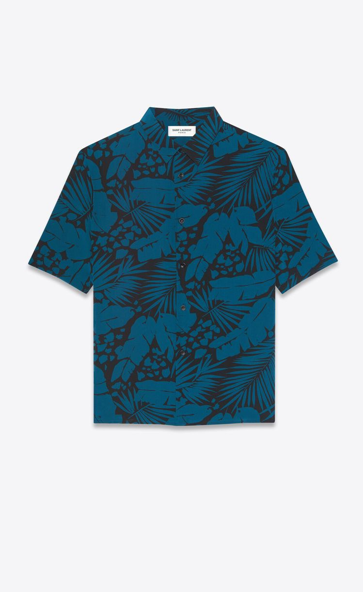 熱帶印花桑蠶絲襯衫,30,900元。圖/Saint Laurent提供
