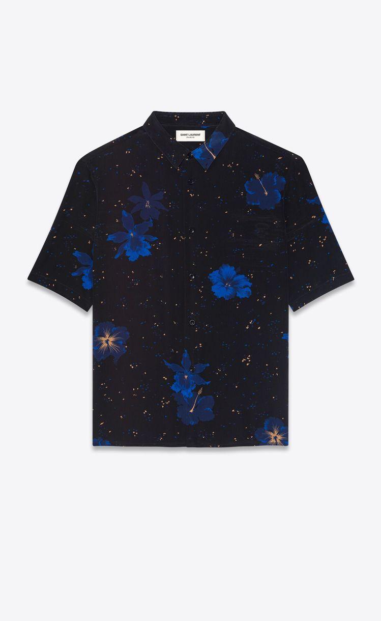 藍色木槿花桑蠶絲襯衫,30,900元。圖/Saint Laurent提供