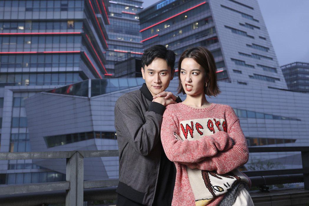 陳庭妮(左)、劉冠廷在「火神的眼淚」中組CP,角色個性互補。記者王聰賢/攝影