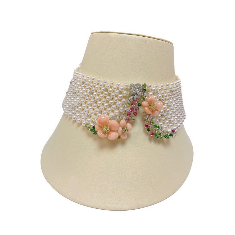 MIKIMOTO頂級珠寶系列櫻花造型珍珠頸鍊,262萬元。圖/MIKIMOTO提...