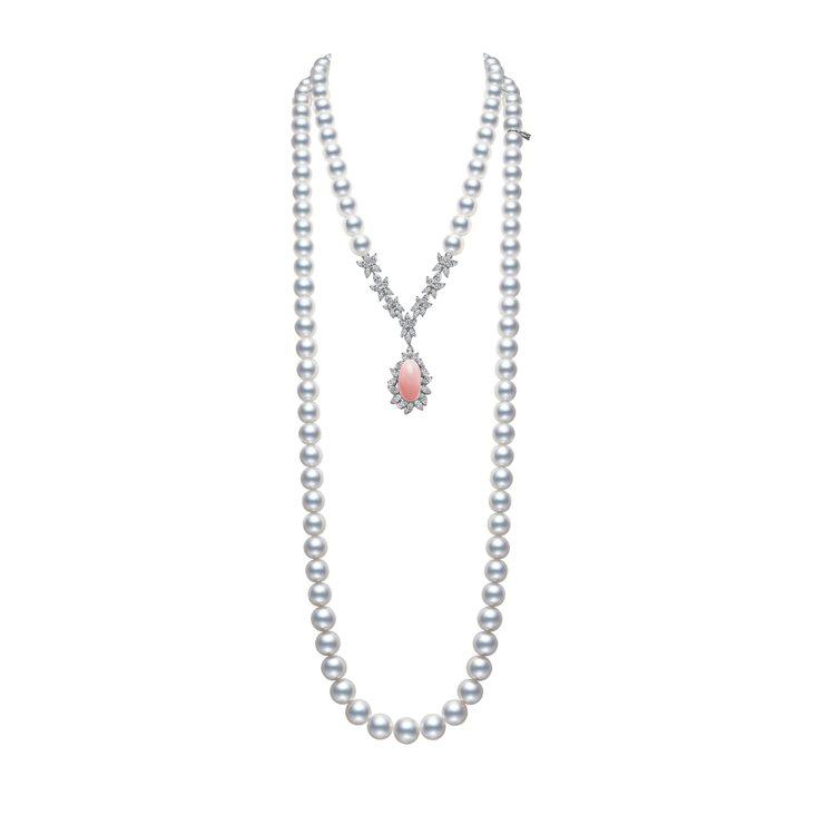 MIKIMOTO Natural Pearl頂級珠寶系列孔克珍珠南洋珍珠長鍊,1...